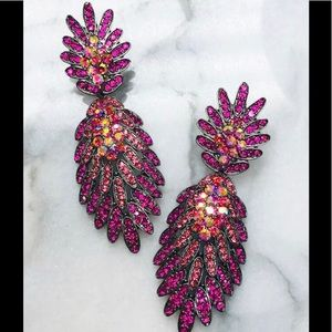 Fuchsia Crystals Gunmetal Earrings,NWT